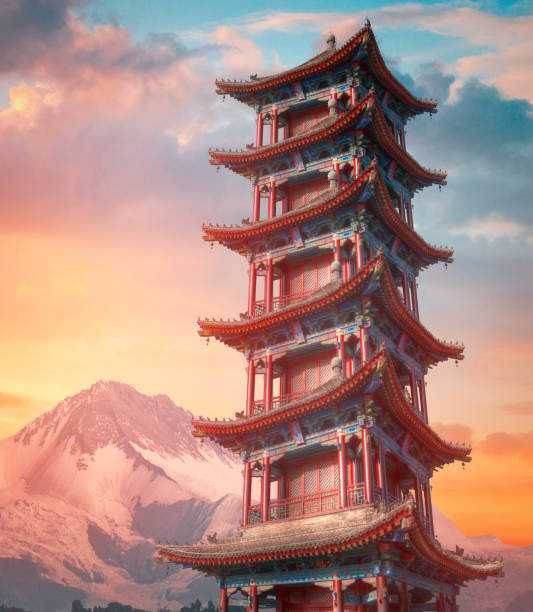 large pagoda of wild geese in Xi'an large pagoda of wild geese in Xi'an. The largest monument of Chinese architecture pagoda stock pictures, royalty-free photos & images