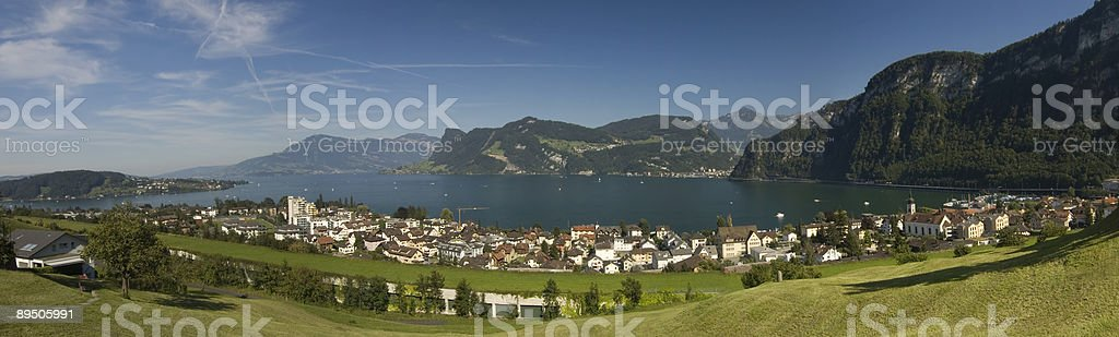 Large panorama of the lake surrounded by mountains royalty-free stock photo