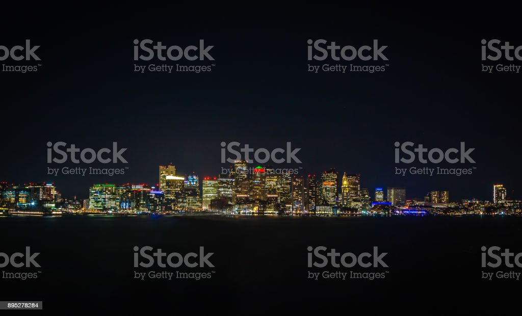 Large Panoramic of Downtown Boston at Night stock photo