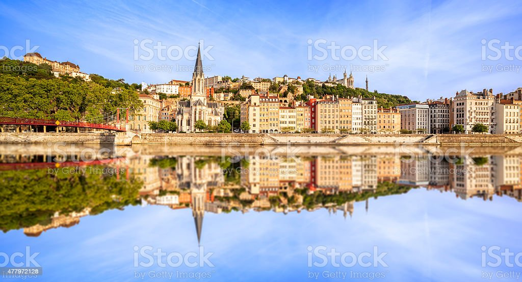 Large panoramic view of Lyon with Saone river stock photo
