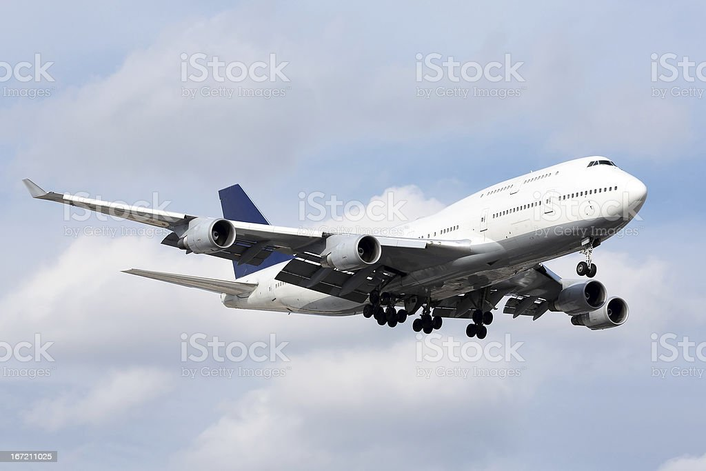 Large passenger aircraft on approach for landing royalty-free stock photo