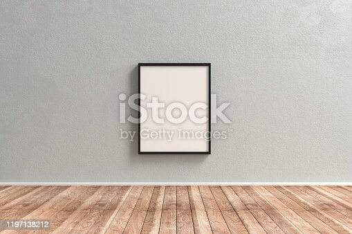 Plain Empty Picture Frame on wooden surface reserved for copyspace concepts.