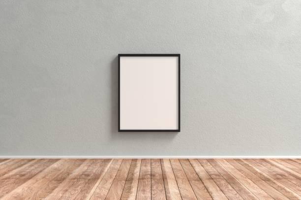 cornice immagine grande su una parete di cemento - intelaiatura foto e immagini stock