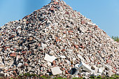 Large pile of building rubble