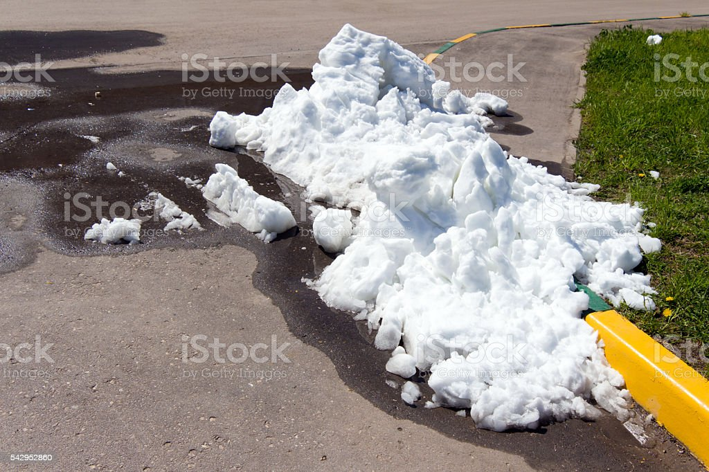 Large pile of dirty and white snow lies on stock photo