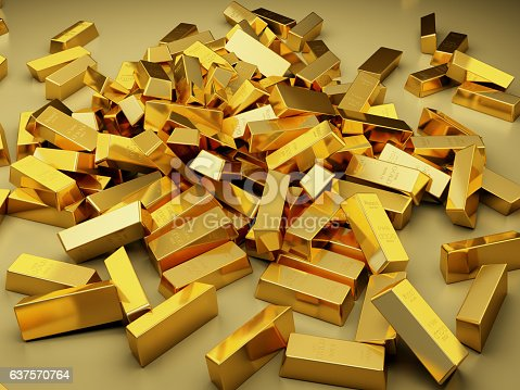 istock Large pile of gold bars 637570764