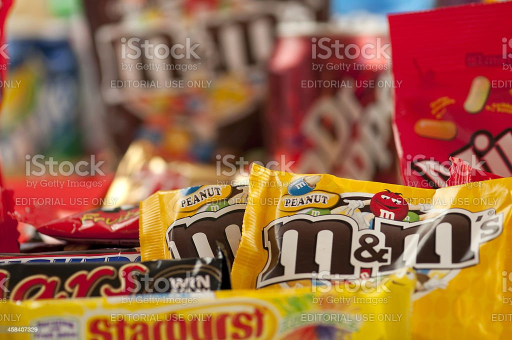 Large pile of junkfood with selective focus stock photo