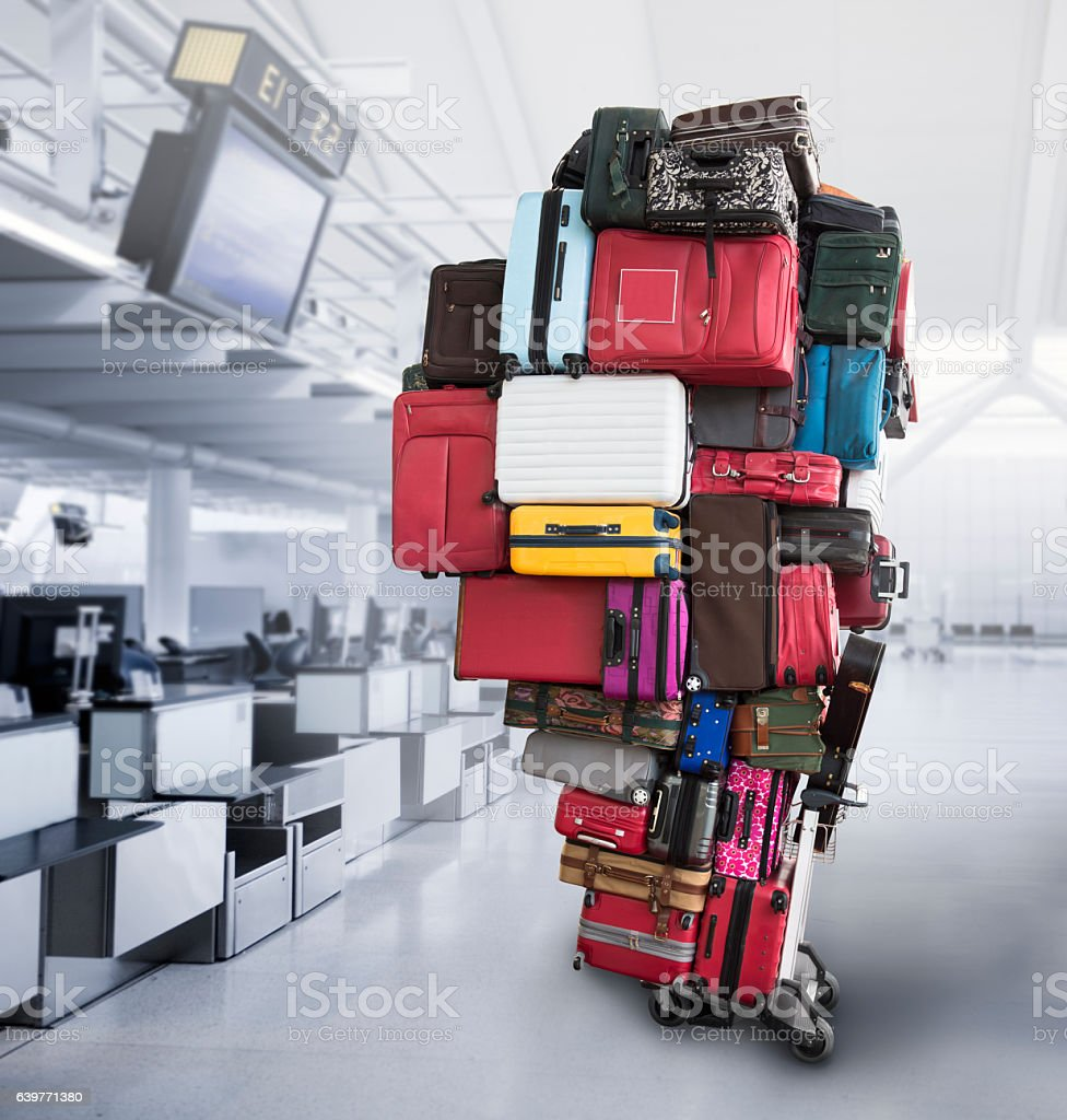 Large pile of luggage at the airport stock photo