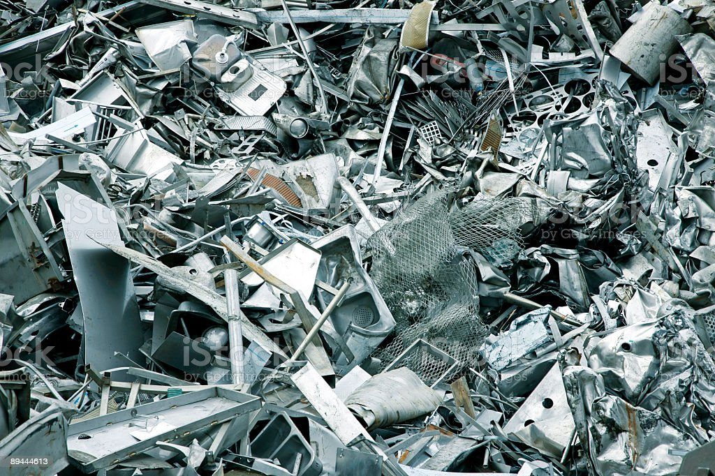 Large pile of metal scrap in scrapyard royalty-free stock photo