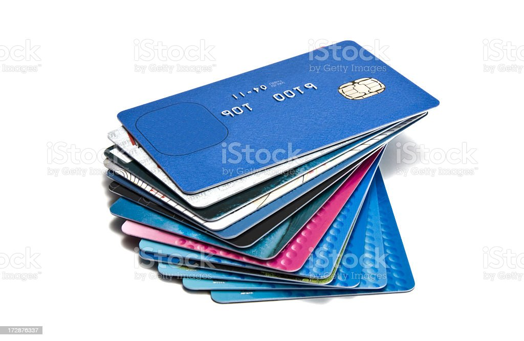 Large pile of old credit cards royalty-free stock photo