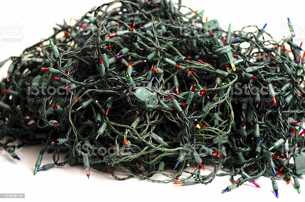large pile of tangled christmas lights royalty free stock photo - Tangled Christmas Lights