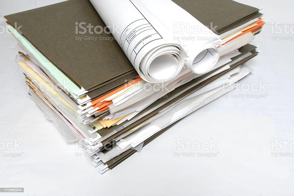 Large pile of ufinished paperwork stock photo