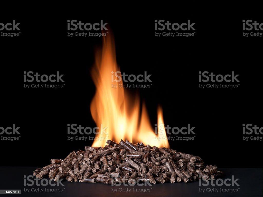 Large pile of wood pellets burning royalty-free stock photo