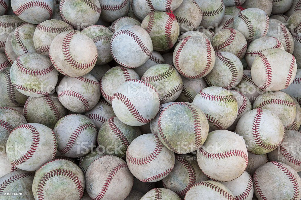 Large pile or group of baseballs stock photo