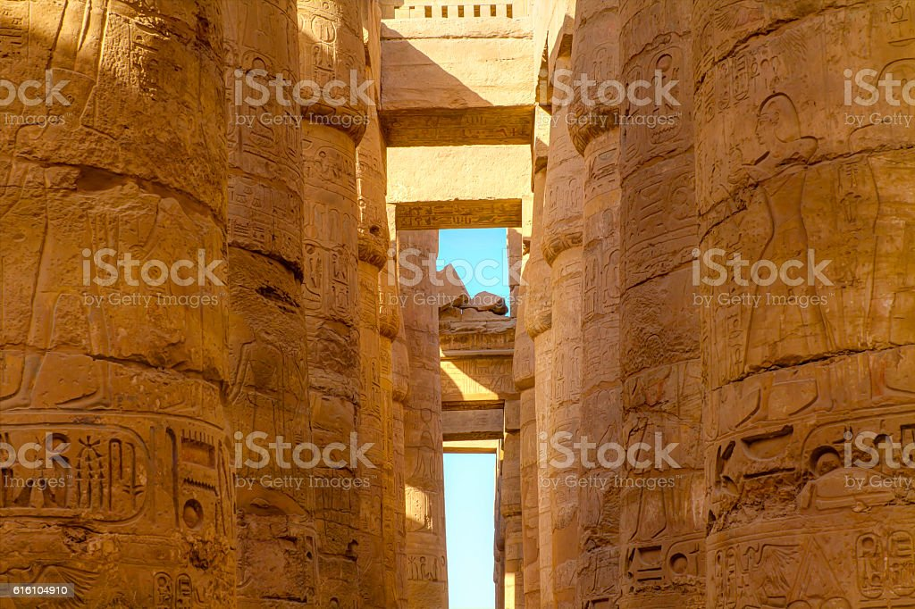 large pillars of Karnak stock photo