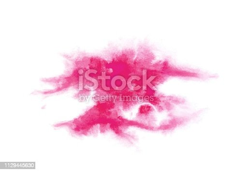 istock Large pink blot hand-drawn in watercolor and isolated on a white background. Watercolor background for design. Fashionable pink color. Blot 1129445630