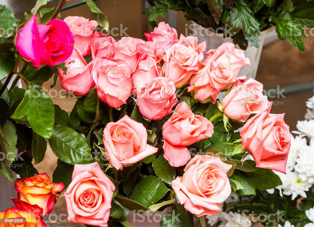 Large Pink fresh flowers bouquet royalty-free stock photo