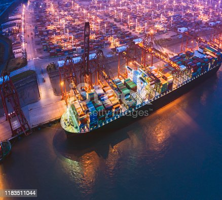 Large port ship in Asia