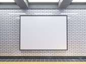 large poster at metro station 3d illustration signboard,  space,  station,  subway,  template,  three,  underground,  up,  wall,  white
