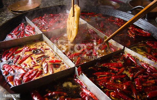 Famous Chongqing hot pot. It is one of spicy Chinese hot pot.