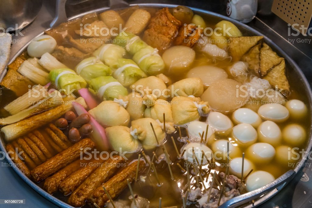 Large pot of oden, a Japanese winter dish stock photo