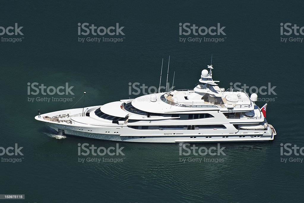 Large private motor yacht at sea royalty-free stock photo