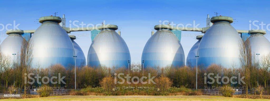 Large production plant biogas stock photo