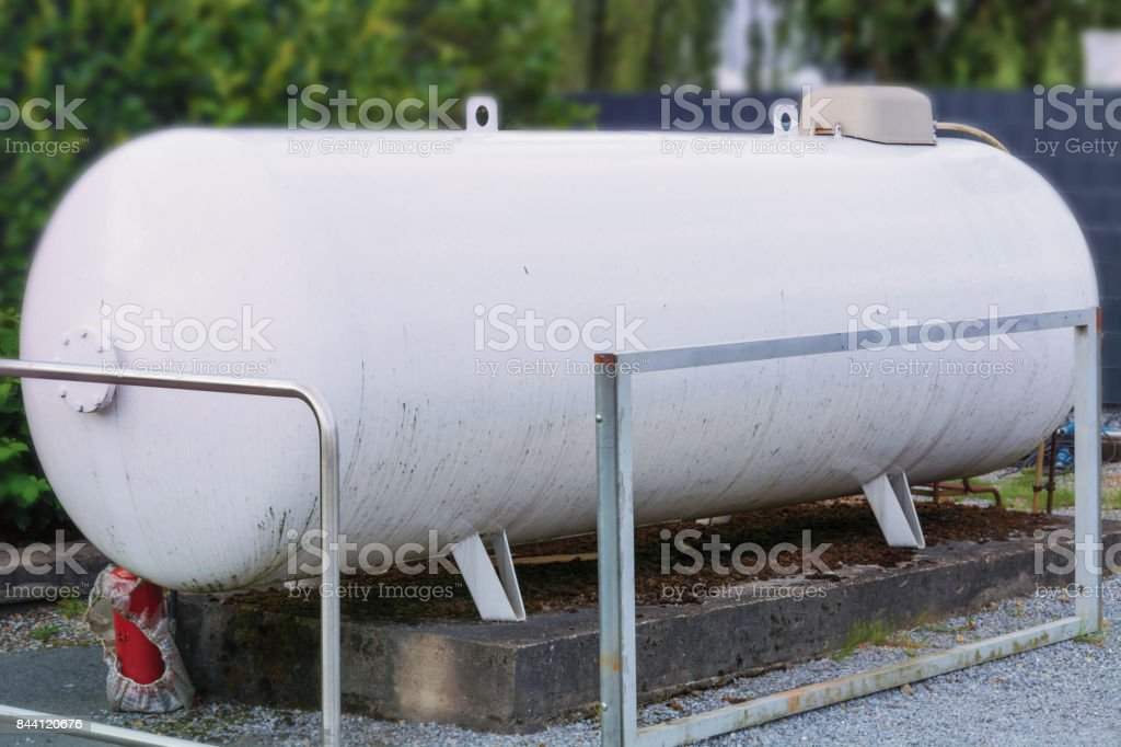 Large propane storage tank stock photo