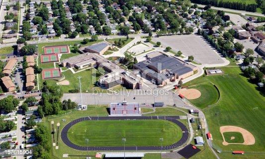 istock Large Public High School Complex 157615904