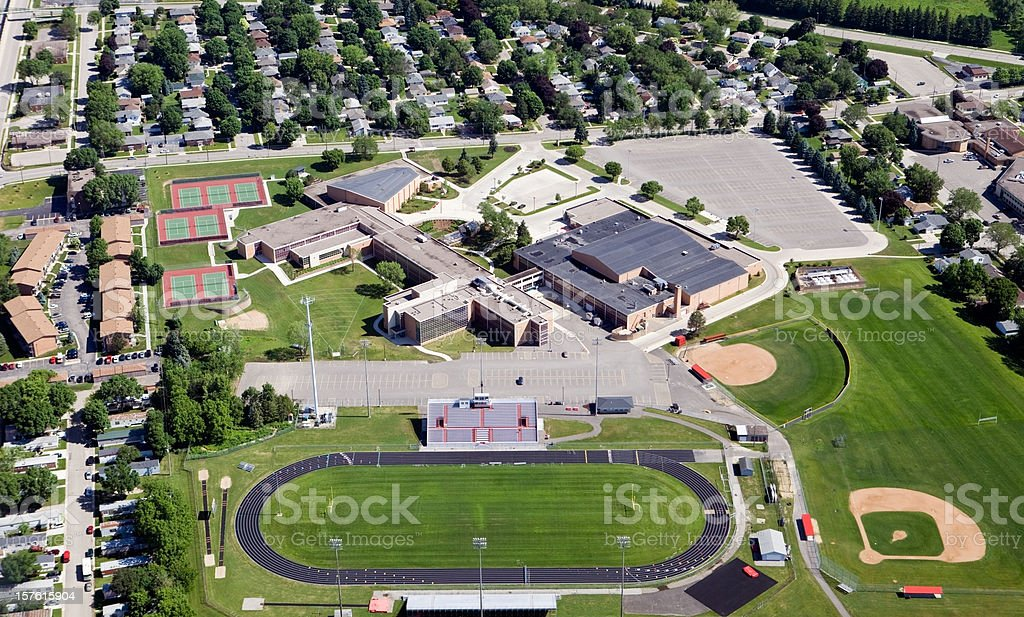 Large Public High School Complex stock photo
