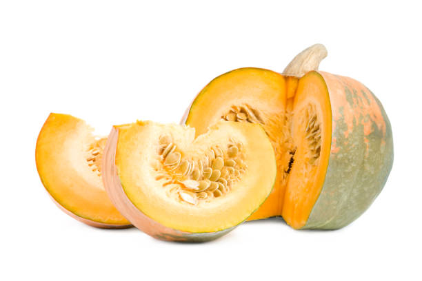 Large pumpkin with slices. stock photo
