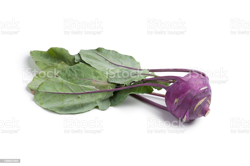 Large purple radish with green leaves and purple veins stock photo