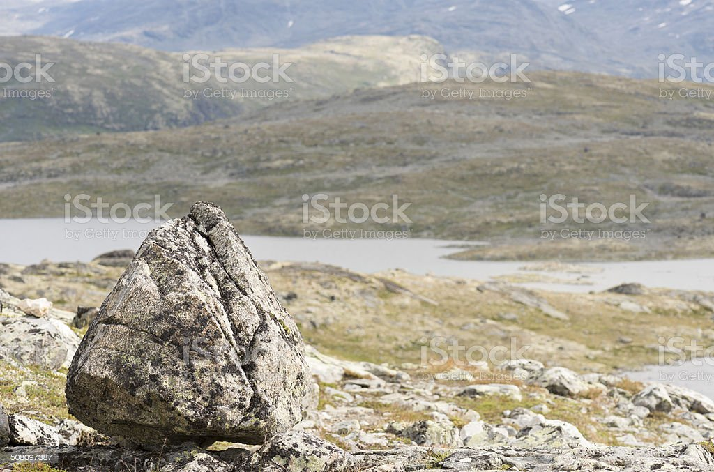 Large pyramid-shaped rock in Jotunheimen National Park royalty-free stock photo