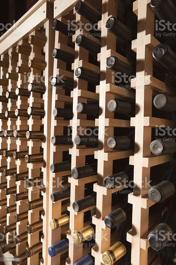 Large Quantity Bottles of Wine in Cellar Rack Vt royalty-free stock photo