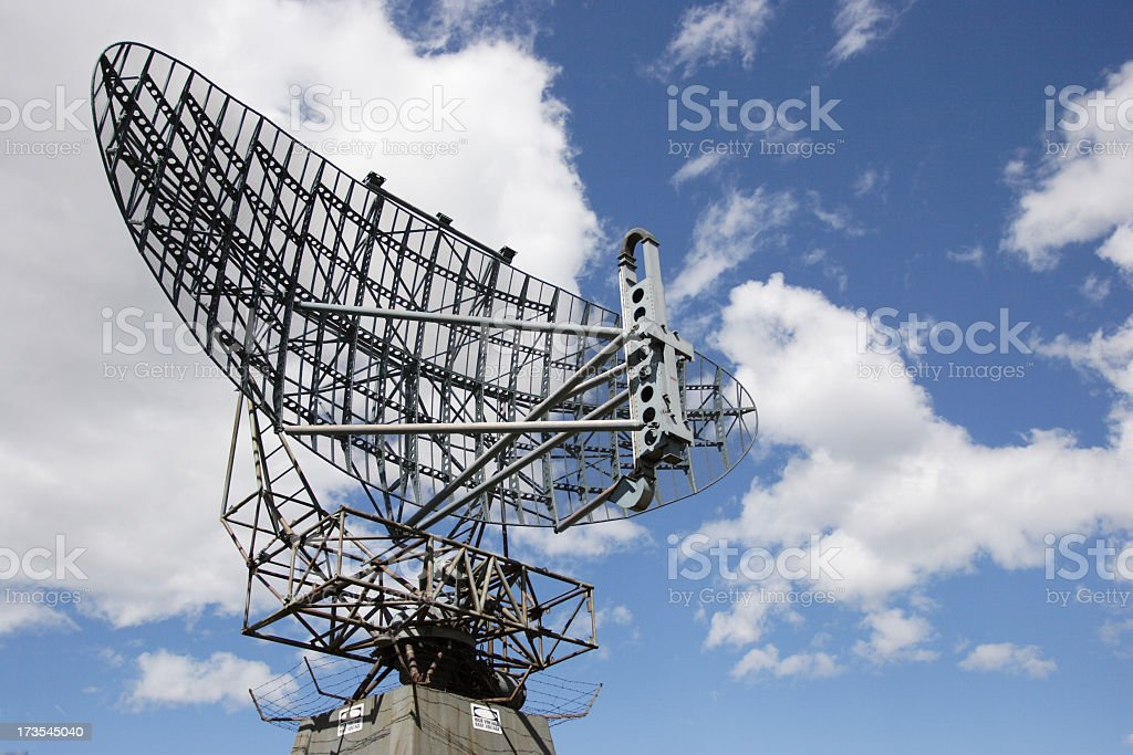 Large radar used to track aircraft stock photo