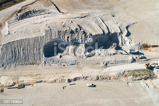 Large railroad construction site - swabian alp, Germany. Panoramic aerial view