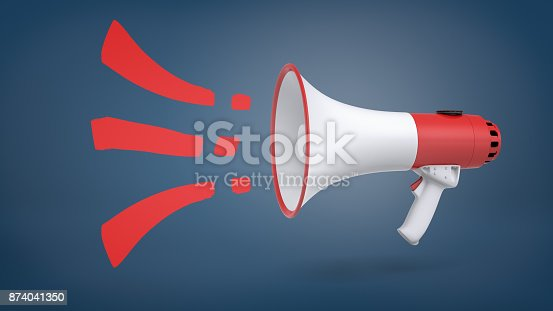 istock A large red and white megaphone in side view on a blue background with red sound symbols getting out of it. 874041350