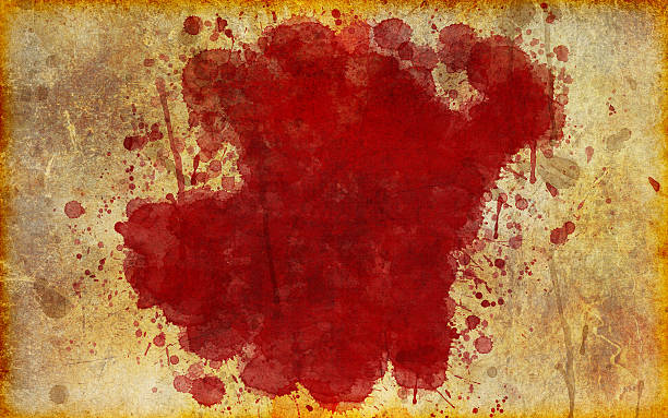 Large, Red Blood Stain on Old, Aged Paper stock photo
