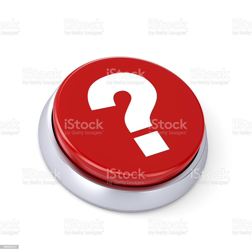 Large red button with a question mark on a white background stock photo
