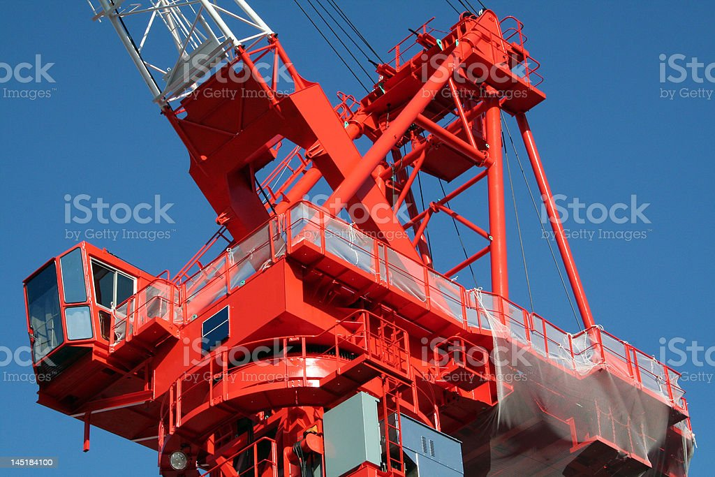 Large Red Construction Crane - Closeup stock photo