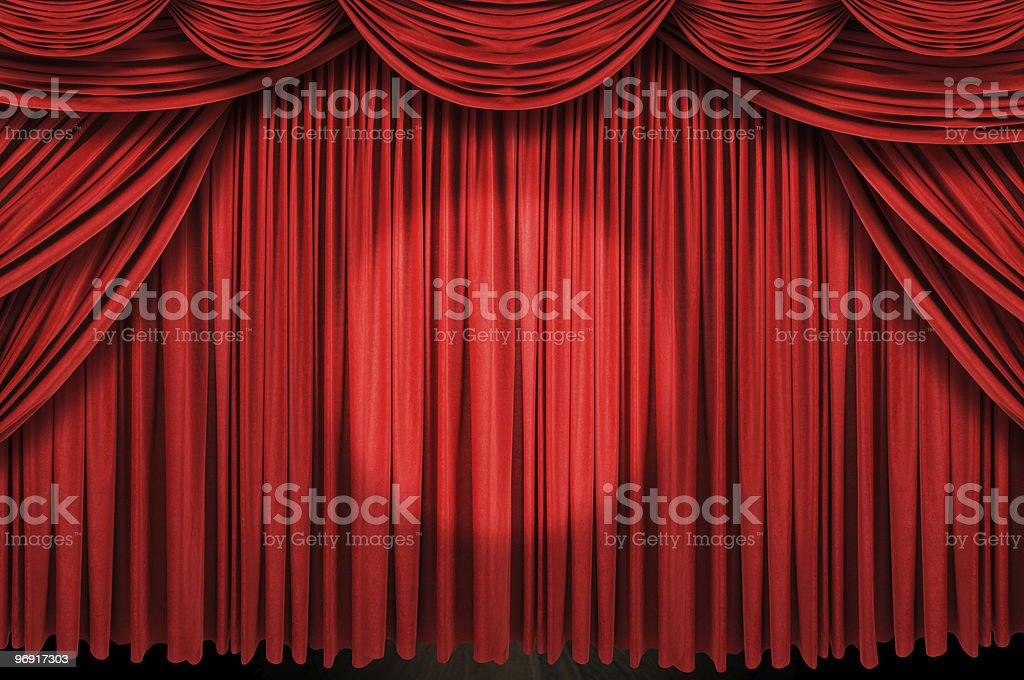 Large red curtain stage royalty-free stock photo