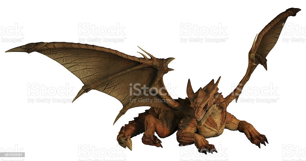 Large Red Dragon Prowling stock photo