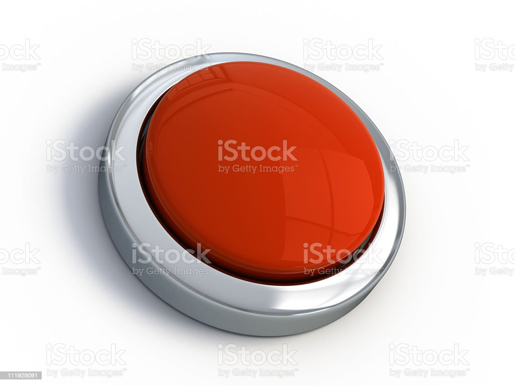 A large red emergency button on a white background stock photo