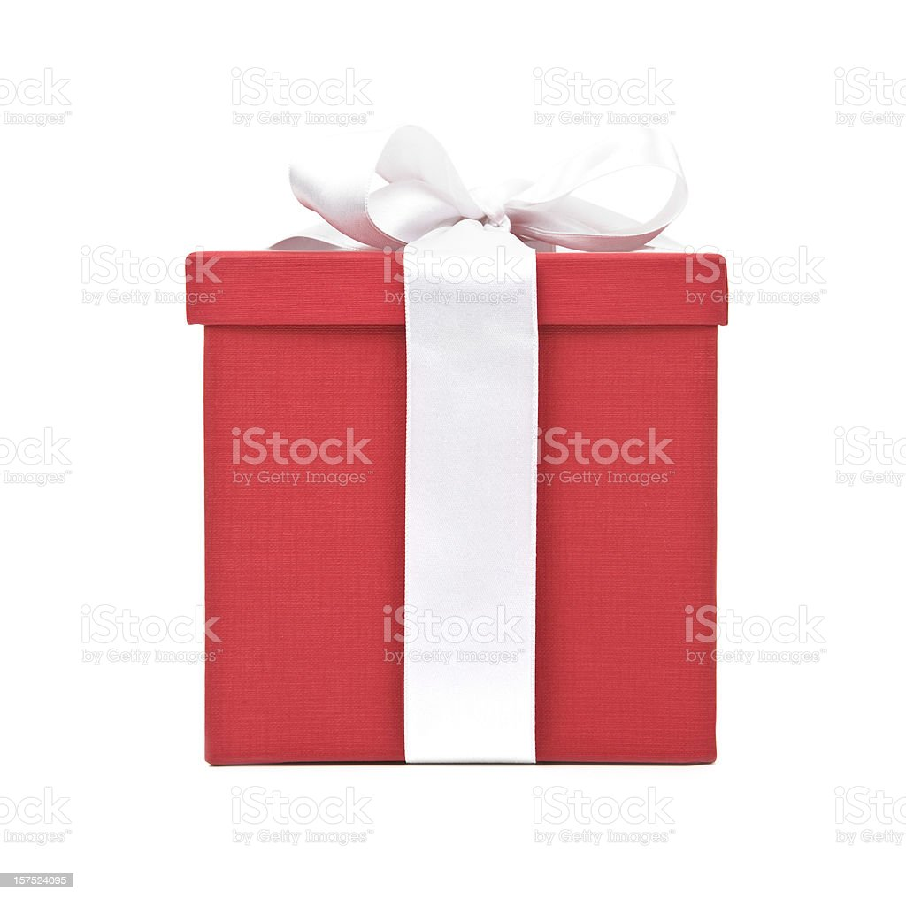 Large red gift box with a white ribbon and bow stock photo