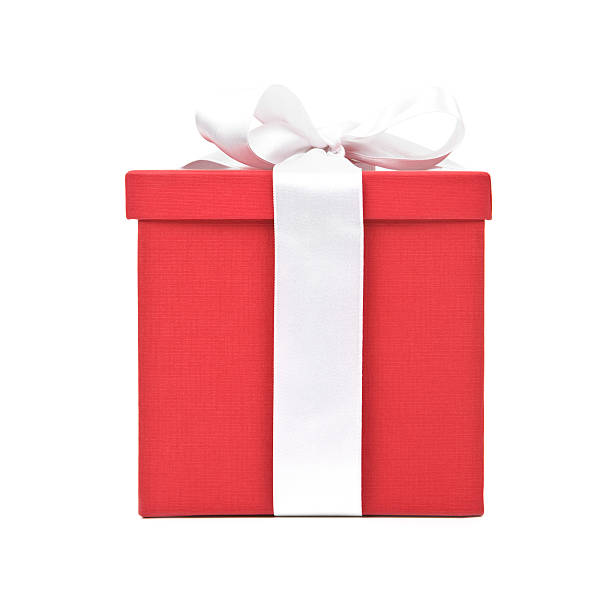 Large red gift box with a white ribbon and bow Red Gift Box on White Background gift box stock pictures, royalty-free photos & images
