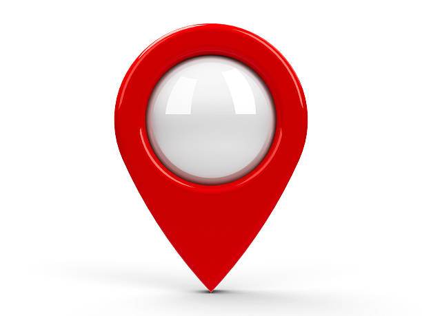 a large red map pointer isolated on a white background - landmarks stock photos and pictures