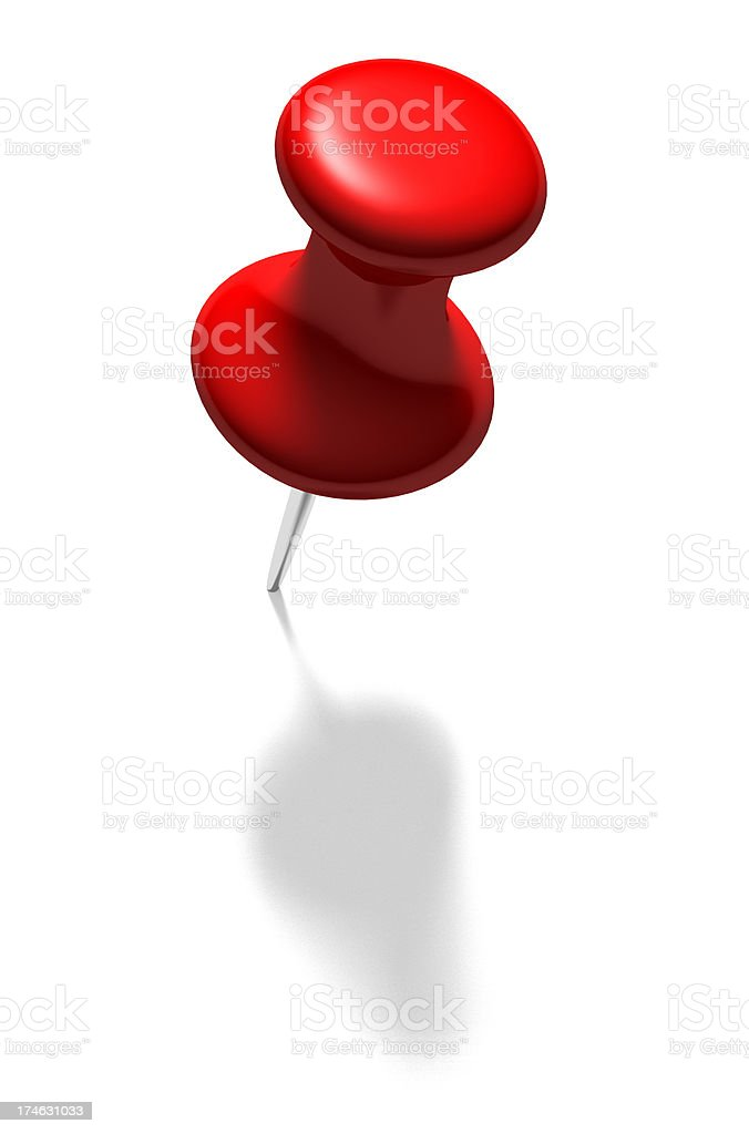 Large red pin on white background stock photo