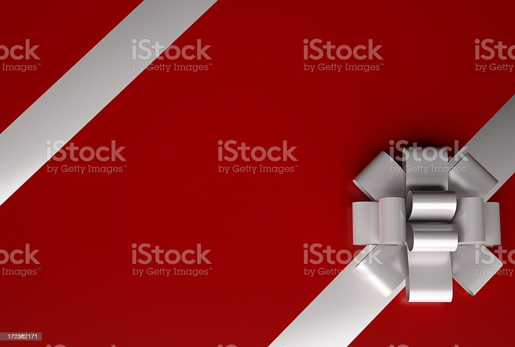 Large red present with a close up of the white bow stock photo