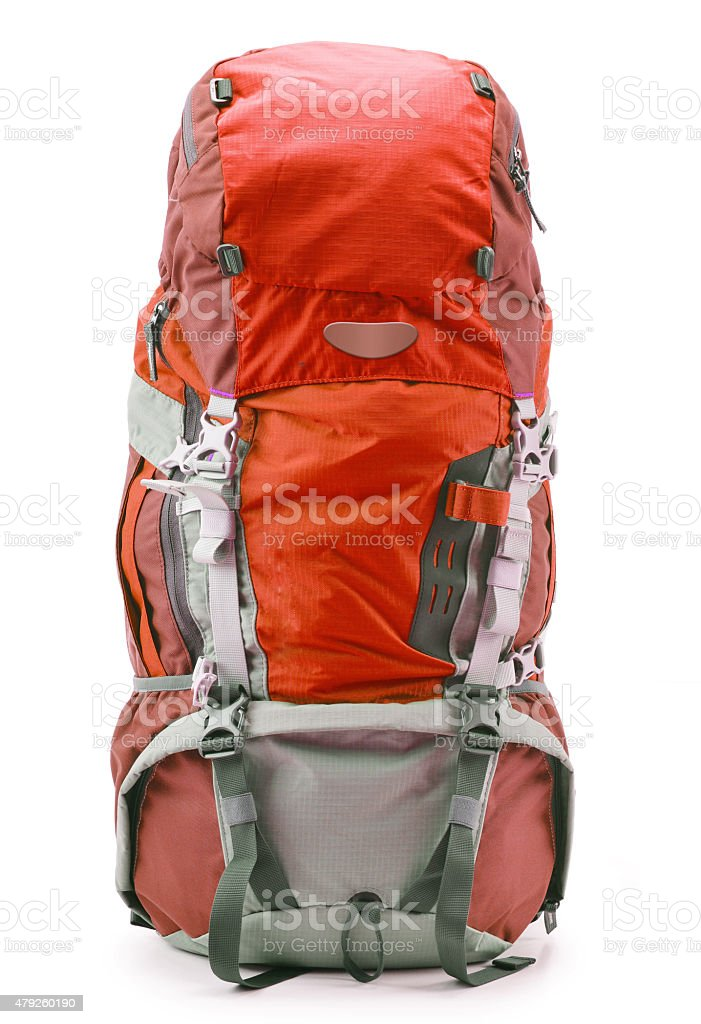 Large red touristic backpack isolated on white stock photo