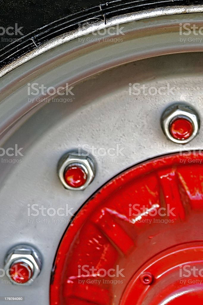 Large red wheel rim royalty-free stock photo